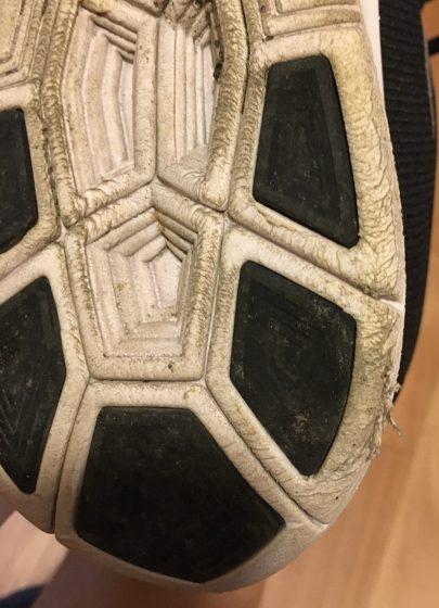 (使用後)ナイキ【初代】ズームフライの靴の裏の写真