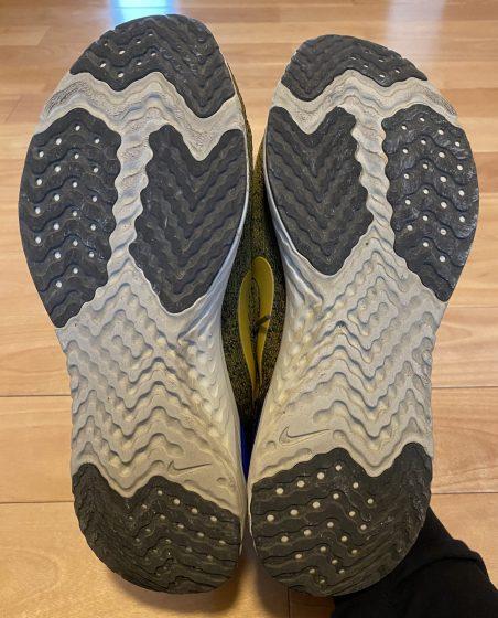 ナイキ『オデッセイリアクト』の靴の裏の写真